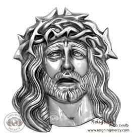 """Oremus Mercy Pewter Jesus Face Wall Plaque 11"""" x 9"""""""