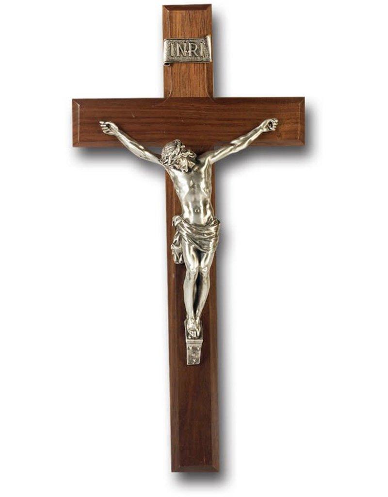 "WJ Hirten 12"" Walnut Wood Cross with Pewter Corpus"
