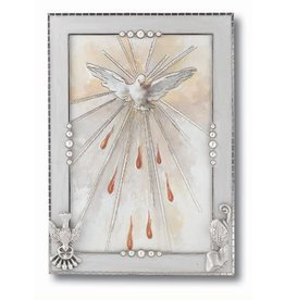 "WJ Hirten 6"" x 4"" Silver Plated Pearlized Confirmation Photo Frame"