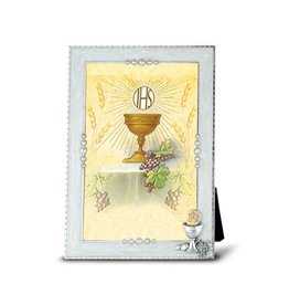 "WJ Hirten 6"" x 4"" Silver Plated Pearlized First Communion Frame"