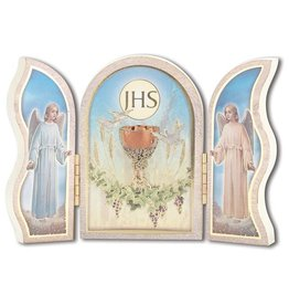 "WJ Hirten 5"" x 3"" Wooden Holy Communion Triptych"