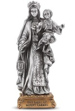 """WJ Hirten 4 1/2"""" Our Lady of Mount Carmel Fine Pewter Statue on a Majestic Gold Tone Base"""
