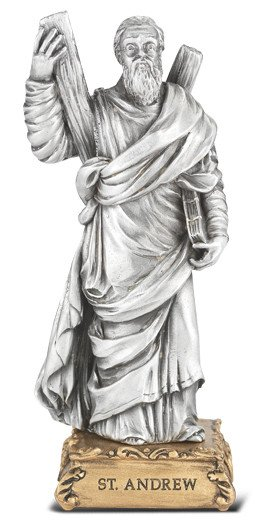 """WJ Hirten 4 1/2"""" St. Andrew Fine Pewter Statue on a Majestic Gold Tone Base"""