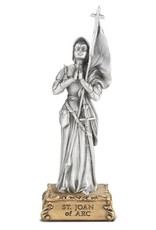 "WJ Hirten 4 1/2"" St. Joan of Arc Pewter Statue on a Wooden Base"