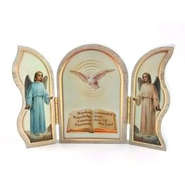 "WJ Hirten 5"" x 3"" Seven Gifts of the Holy Spirit Confirmation Triptych"