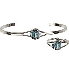 Bliss Manufacturing Silver Plate Blue Miraculous Medal Bracelet & Ring Communion Set