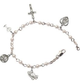 Bliss Manufacturing Pearl Silver Plated First Communion Charm Bracelet