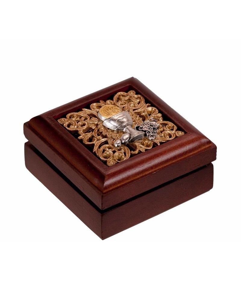 WJ Hirten Walnut Wood First Communion Keepsake Box with Pewter Chalice Inlay