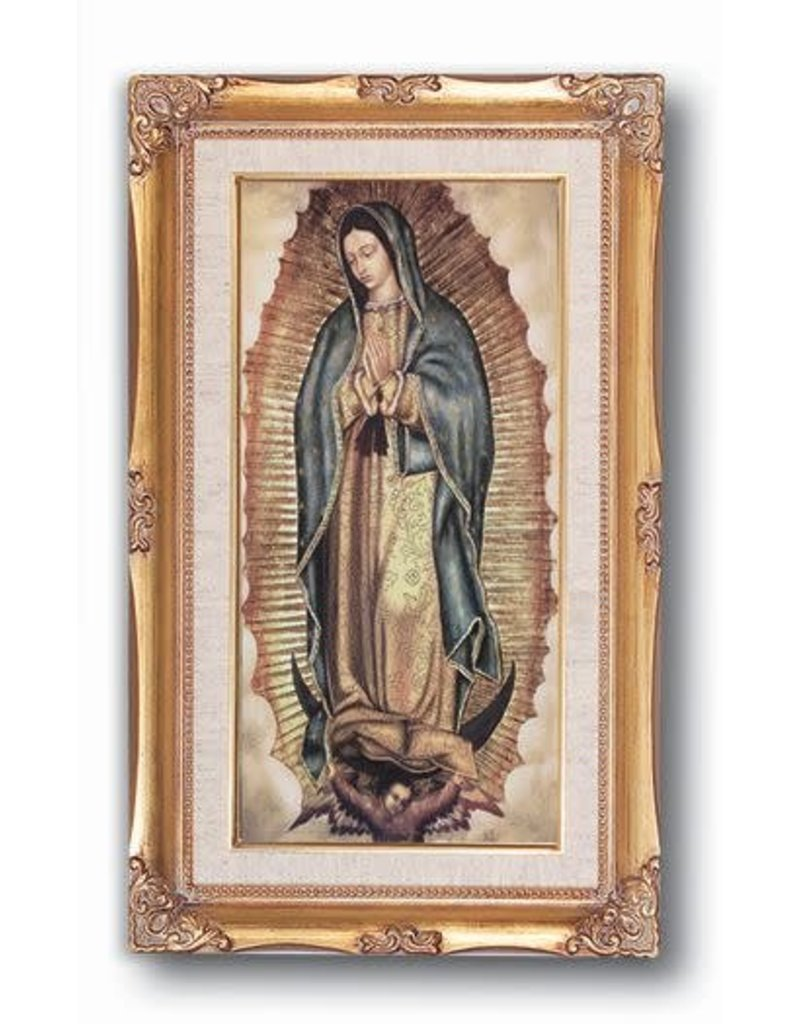 """WJ Hirten 11"""" x 19"""" Genuine Gold Leaf and Wood Tone Framed Our Lady of Guadalupe"""