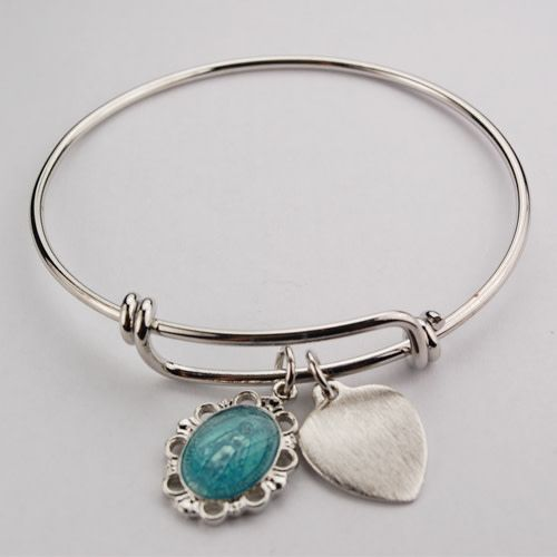 McVan Youth Bangle Bracelet with Enameled Miraculous Medal