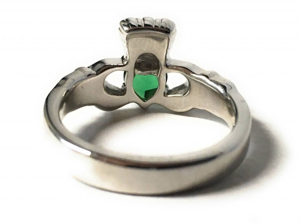 Bliss Manufacturing Sterling SIlver Claddagh Ring Emerald Size 5
