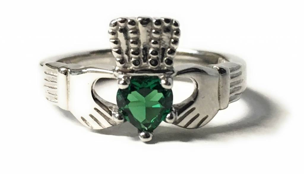 Bliss Manufacturing Sterling SIlver Claddagh Ring Emerald Size 7