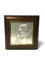 HMH Religious Genuine Walnut Saint Pio Keepsake Box