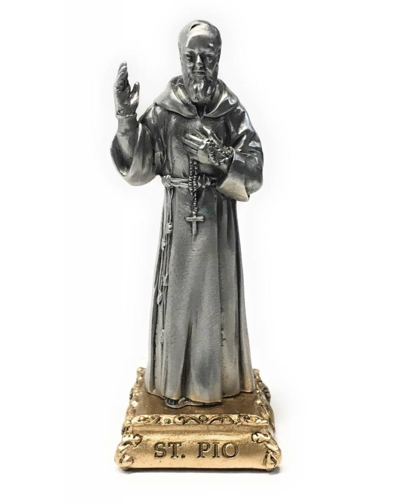 "WJ Hirten 4 1/2"" St. Pio Fine Pewter Statue on a Majestic Gold Tone Base"