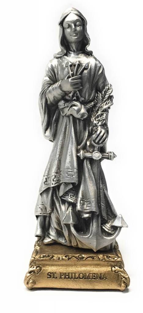 "WJ Hirten 4 1/2"" St. Philomena Fine Pewter Statue on a Majestic Gold Tone Base"