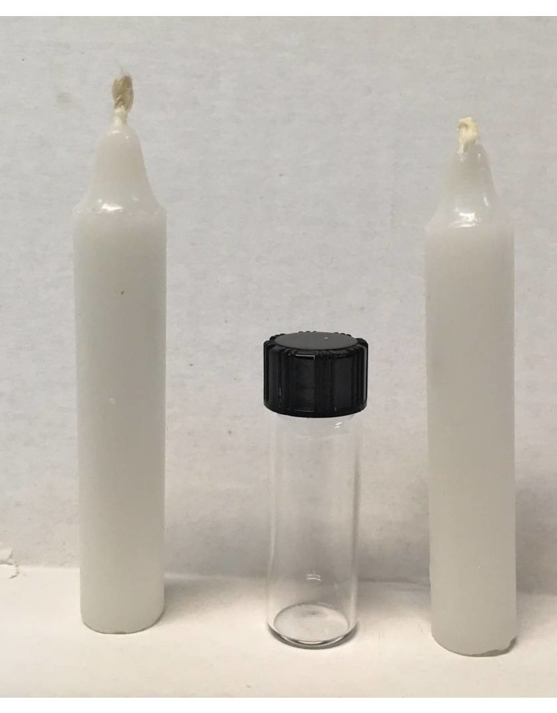 McVan Vial and 2 Candles for Sick Call Crucifix with Instructions