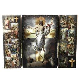 "WJ Hirten 5"" x 3"" Wooden Stations of the Cross Triptych"