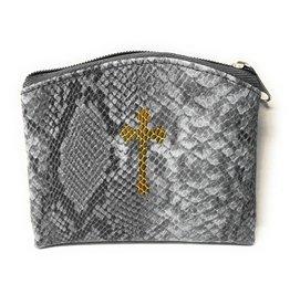 WJ Hirten Gray Reptile Pattern Rosary Case