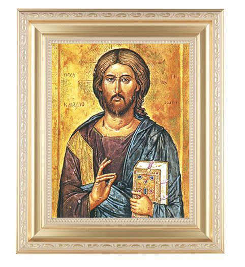 WJ Hirten Christ the All Knowing (Gold Frame)