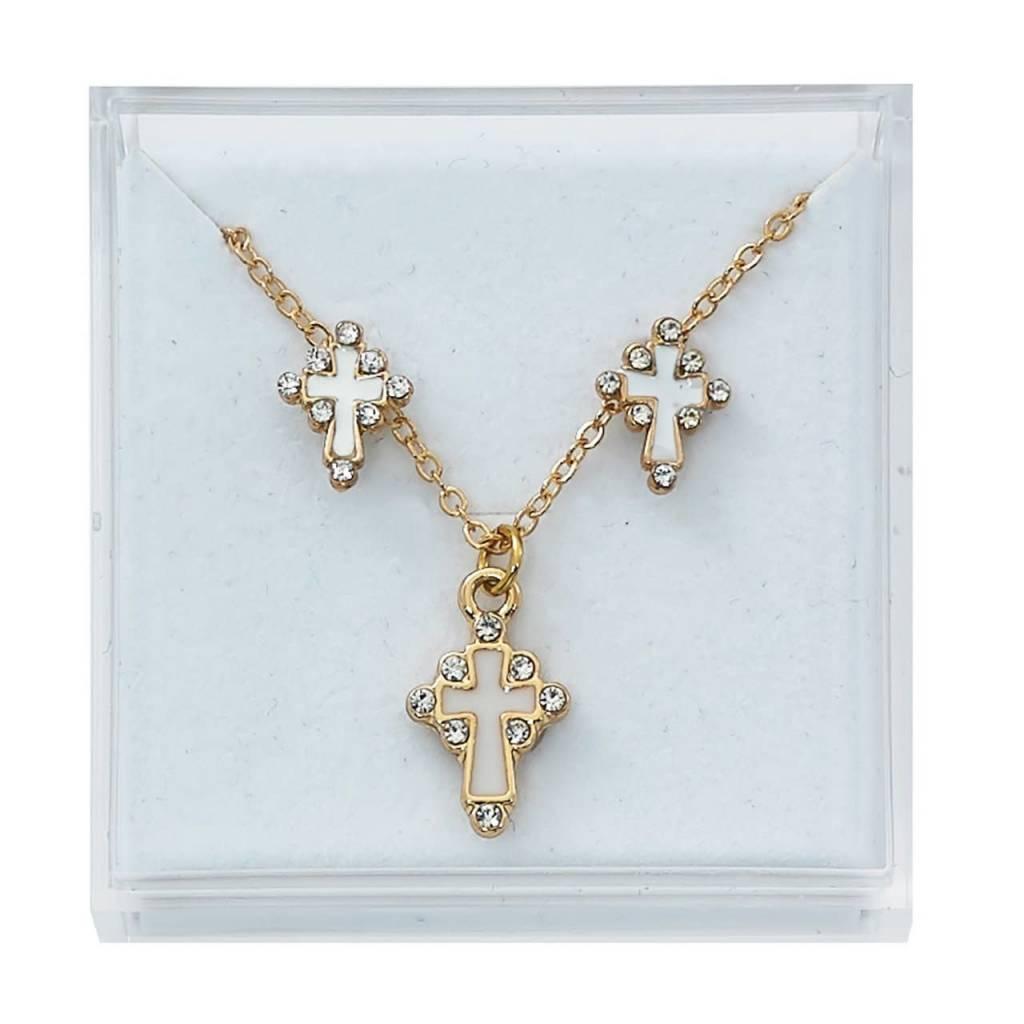McVan Gold-toned cross enamel and stone earrings and pendant set