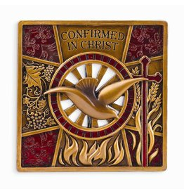 "Joseph's Studio Confirmation Wall Plaque With Holy Spirit and Fire 4.25"" Resin"