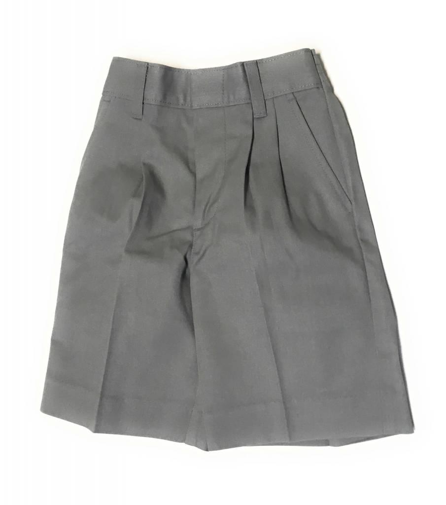 Elderwear Elderwear 1286JR Grey Pleated School Uniform Shorts, Size 7 Waist 23, Traditional Fit