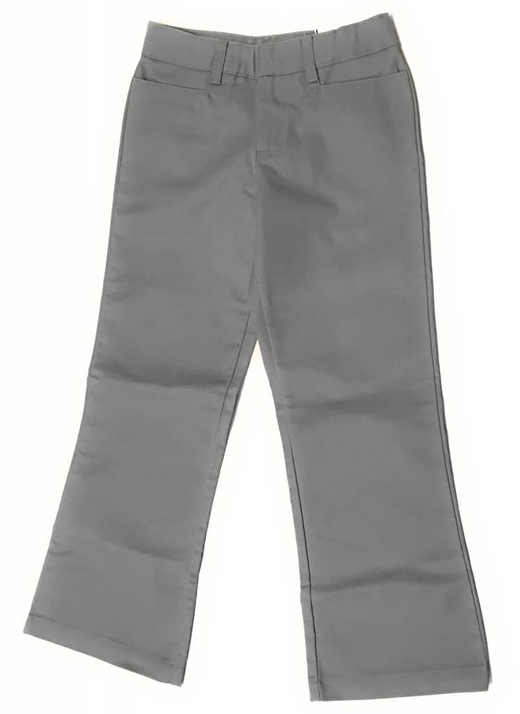 Elderwear Elderwear 4025GR Girls Grey Flat Front School Uniform Slacks, Size 7, Regular Fit