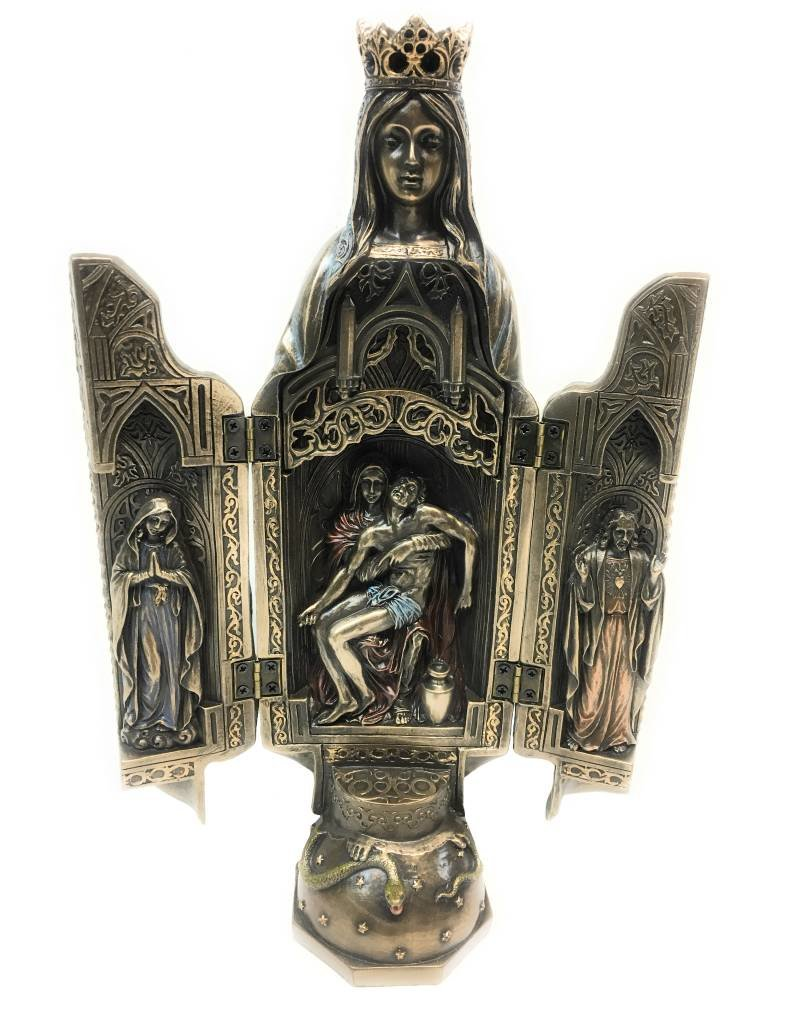 """Goldscheider of Vienna 11"""" Our Lady of Grace Bronze Triptych from the Veronese Collection"""