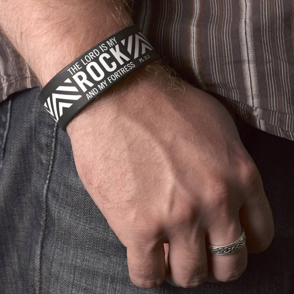 """Christian Art and Gifts Black Silicone Wristband """"The Lord is My Rock and My Fortress"""" Psalm 31:3"""