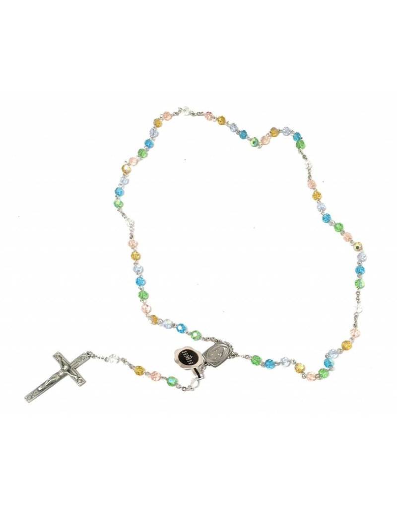 HMH Religious 6mm Tin Cut Multi Color Bead Rosary