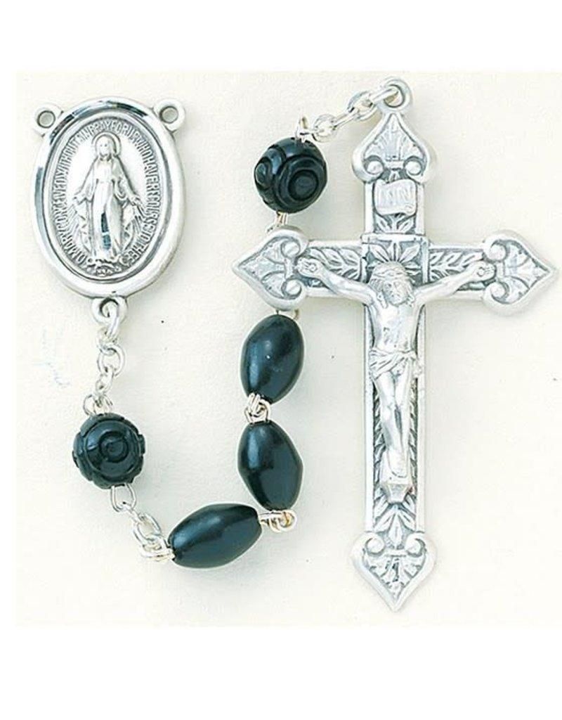 HMH Religious Black Oval Genuine Cocoa Bead Rosary
