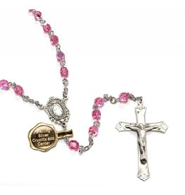HMH Religious Crystal Rosary Swarovski Pink 6mm Beads with Sterling Silver Crucifix