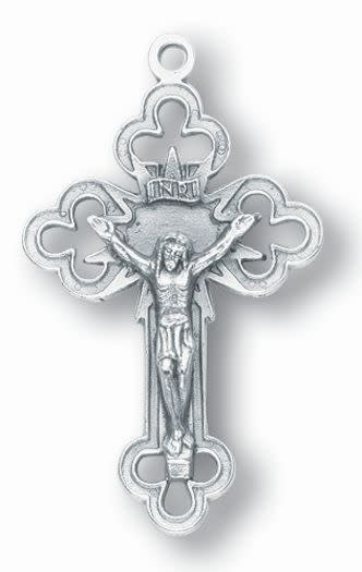 "WJ Hirten 1.5"" Silver Oxidized Palm Crucifix"