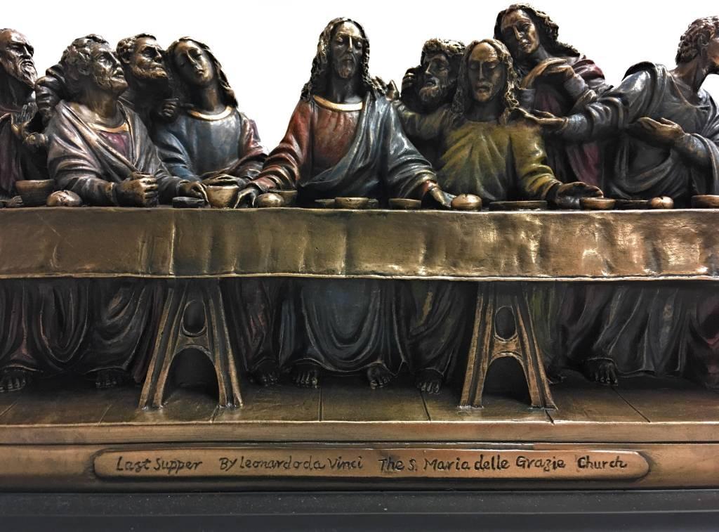 """Goldscheider of Vienna 14"""" x 4.5"""" x 6"""" Last Supper Bronze Lightly Hand Painted Statue"""