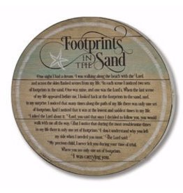 Cathedral Art Barrel Plaque-Footprints In The Sand