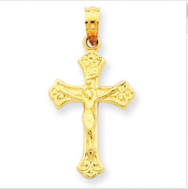 14K Gold Crucifix INRI
