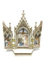"""Goldscheider of Vienna 7.25"""" x 8"""" Full Color Hand-Painted Calvary Triptych Veronese Collection"""