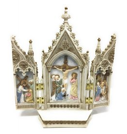 "Goldscheider of Vienna 7.25"" x 8"" Full Color Hand-Painted Calvary Triptych"