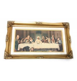 "WJ Hirten 11"" x 19"" The Last Supper by Parietti High Quality Genuine Gold Leaf Wood Framed Picture Under Glass"