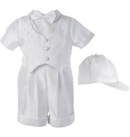 Lauren Madison Boy's Baptism Shantung Dobby Cross Vest Short Set [1518]