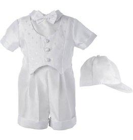 Lauren Madison Boy's Baptism Shantung Dobby Cross Vest Short Set [1518]