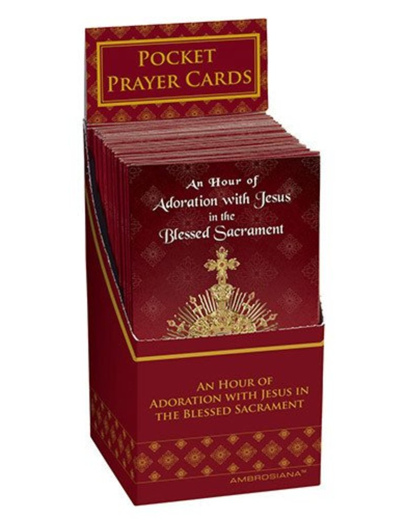Ambrosiana Pack of 48 An Hour of Adoration with Jesus in the Blessed Sacrament Trifold Cards With Display