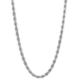 """McVan 24"""" French Rope Rhodium Chain"""