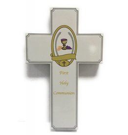 Lumen Mundi Wood First Holy Communion Wall Cross Grey 8""