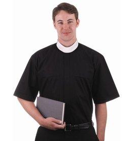 MDS 7000 Black Cottonrich Short Sleeve Full Collar Shirt