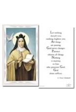 WJ Hirten Holy Card - Teresa De Los Andes