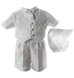 Lauren Madison Shantung Boxer Short with Brocade Vest Boy's Baptism Clothing Set [1431]