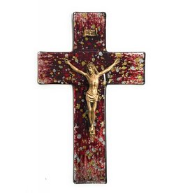 "WJ Hirten 10"" Gold and Silver Random Speckle on Red Stained Glass Crucifix with Golden Corpus"