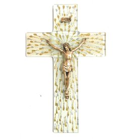 "WJ Hirten 10"" Silver and Gold Splattered Glass Crucifix with Golden Corpus"