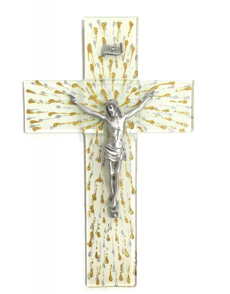 """WJ Hirten 10"""" Silver and Gold Splattered Glass Crucifix with Pewter Corpus"""